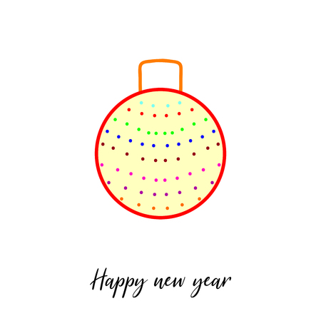 Decorative christmas tree ball with garlands isolated on white. Happy New Year calligraphic text. Illustration