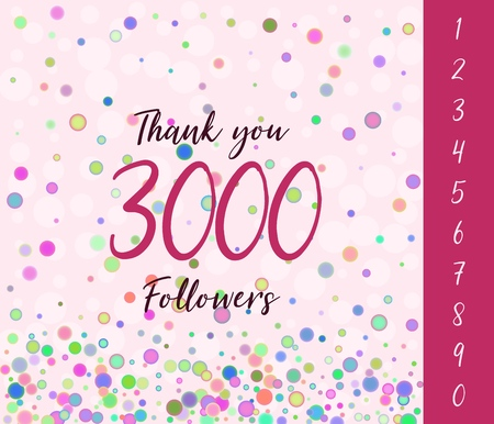 Thank you Followers banner with set of numbers. Vector illustration.