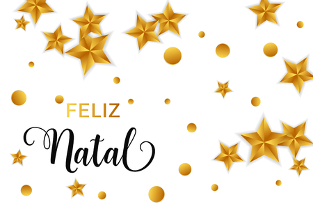 Feliz Natal portuguese text. Christmas vector card with golden stars and round confetti on white background.