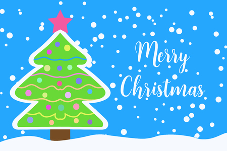 Merry Christmas greeting card with decorated Christmas tree and falling snow.