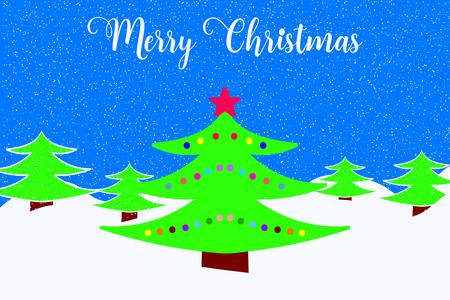 Merry Christmas wenskaart met versierde kerstboom en vallende sneeuw. Vector Illustratie