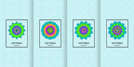 Set of seamless patterns in light blue color and colorful mandala. Collection of vector backgrounds and labels. Concept for packaging design.