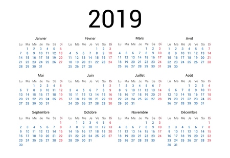 Calendario francés año 2019 en idioma francés. Diseño clásico, minimalista y sencillo. Fondo blanco. Ilustración de vector. La semana comienza el lunes. Ilustración de vector