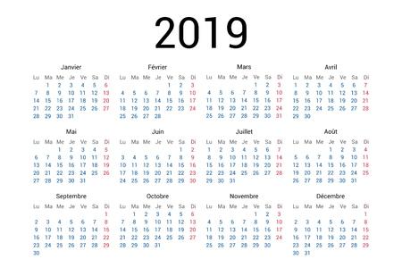 Francuski kalendarz na rok 2019 w języku francuskim. Klasyczny, minimalistyczny, prosty design. Białe tło. Ilustracji wektorowych. Tydzień zaczyna się od poniedziałku. Ilustracje wektorowe