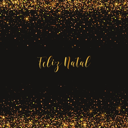 Feliz Natal Merry Christmas portuguese text. Christmas vector card with golden confetti.