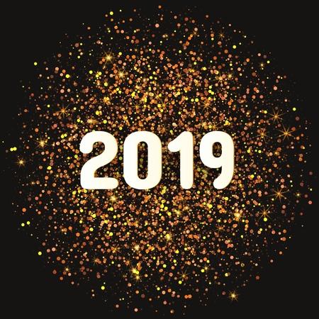 2019 year card with golden confetti in circular design. Festive vector illustration. Illustration