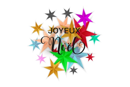 Joyeux Noel Merry Christmas french typography. Christmas vector card with bright colorful stars in circular design on white background.