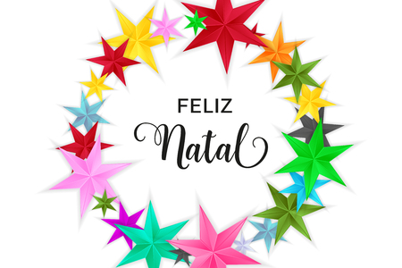 Feliz Natal Merry Christmas portuguese typography. Christmas vector card with bright colorful stars in circular design on white background.