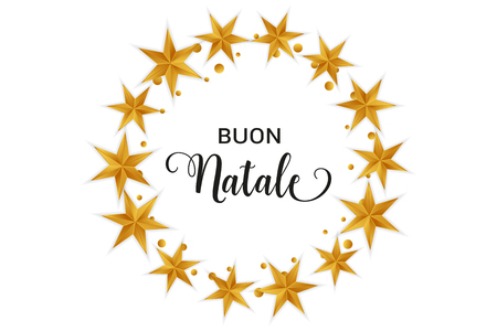 Buon Natale Merry Christmas italian typography. Christmas vector card with golden stars and round confetti in circular design on white background.