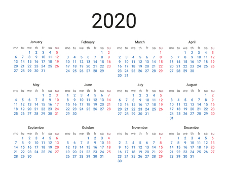2020 year English calendar. Classical, minimalistic, simple design. White background. Vector Illustration. Week starts from monday.