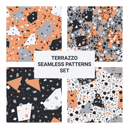 Set of terrazzo veneziano textures, collection of seamless patterns, geometrick backgrounds,