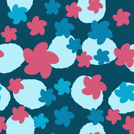 Hand drawn floral seamless pattern. Doodle background. Seamless cute illustration. Trendy textile, fabric, wrapping.