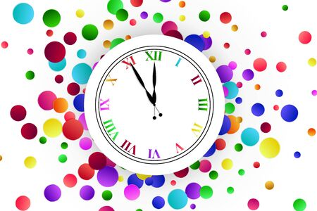 Clock dial with colorful confetti on white background. Illustration