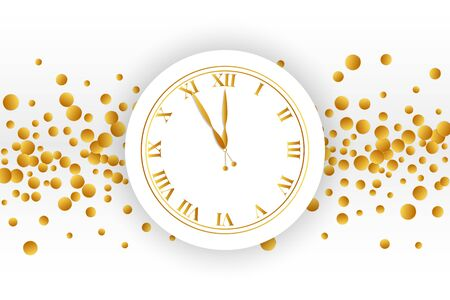 Clock dial with golden confetti on white background.
