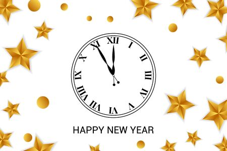 Clock dial with golden confetti and stars. Happy new year text.