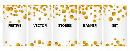 Social media stories banners set, story, texture with golden falling confetti, templates for cover, flyier, brochure, vector trendy backgrounds collection.