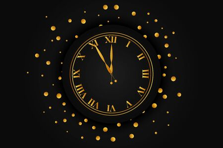 Clock dial with golden confetti. Happy new year text.