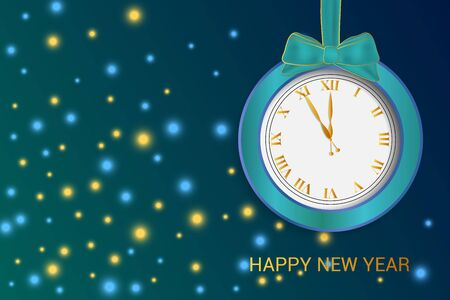 Clock with bow, bokeh background. Happy new year text. Illustration