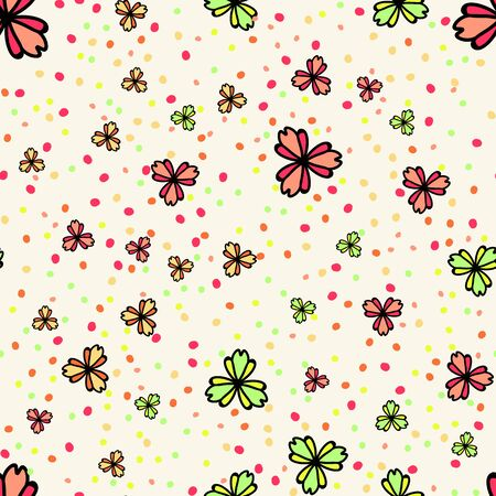 Floral seamless pattern with abstract falling flowers. Illustration