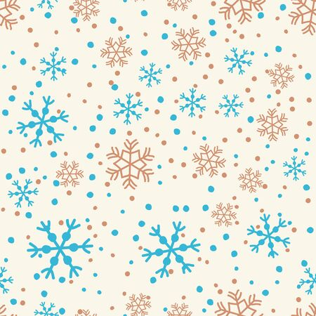 Hand drawn doodle falling snowflakes, seamless pattern.