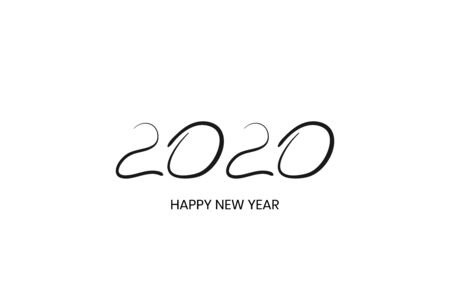 2020 handwritten text isolated on white.