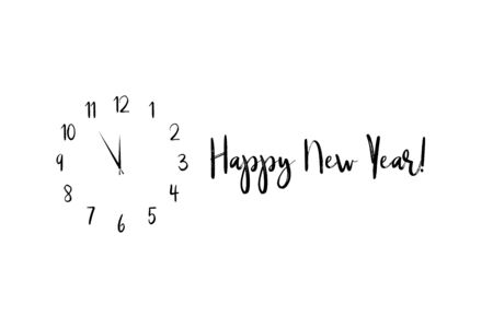 Clock dial Happy new year handwritten text. Illustration