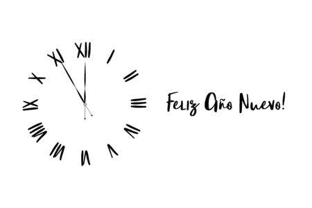 Clock dial Happy new year Spanish handwritten text. Illustration