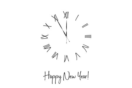 Clock dial Happy new year handwritten text. Çizim