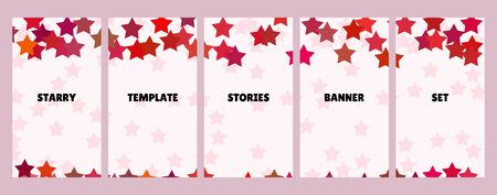 Social media stories banners set, story, texture with stars, templates for cover, flyier, brochure, vector trendy backgrounds collection.
