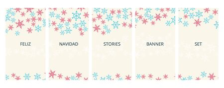 Social media stories banners set, story, Feliz Navidad Merry Christmas text, texture with falling hand drawn snowflakes, templates for cover, flyier, brochure, vector trendy backgrounds collection. Çizim