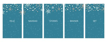 Social media stories banners set, story, Feliz Navidad Merry Christmas text, texture with falling hand drawn snowflakes, templates for cover, flyier, brochure, vector trendy backgrounds collection. Иллюстрация