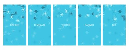 Social media stories banners set, story, texture with abstract stars, templates for cover, flyier, brochure, vector trendy backgrounds collection.