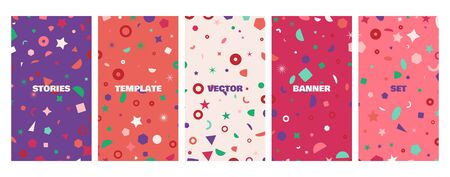 Social media stories banners set, story, texture with geometric shapes, templates for cover, flyier, brochure, vector trendy backgrounds collection.