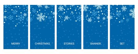 Social media stories banners set, story, texture with falling handdrawn snowlakes, templates for cover, flyier, brochure, vector trendy backgrounds collection.
