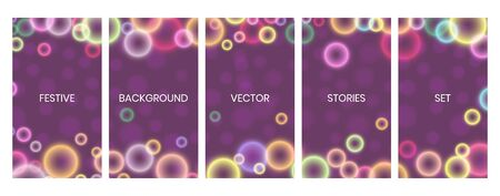 Social media stories banners set, story, texture with falling circular bokeh lights, templates for cover, flyier, brochure, vector trendy backgrounds collection. Çizim