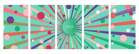 Social media stories banners set, story, texture with circular rays and confetti, templates for cover, flyier, brochure, bright festive backgrounds collection.