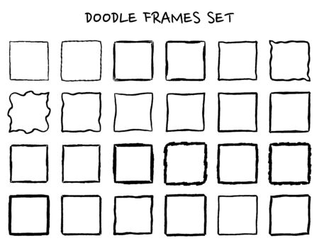 Set of hand drawn doodle, hand drawn square frames and borders. Mono line design templates, isolated on white background.