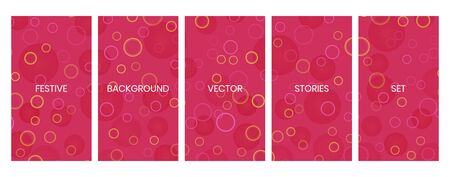 Social media stories banners set, story, texture with falling circular bokeh lights, templates for cover, flyier, brochure, vector trendy backgrounds collection. Illustration