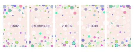 Social media stories banners set, story, texture with falling circular confetti and bokeh lights, templates for cover, flyier, brochure, vector trendy backgrounds collection. Illustration
