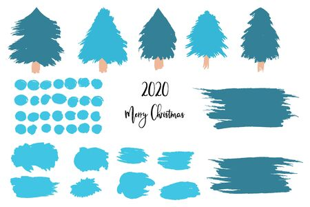 Christmas, New Year set of isolated elements, Christmas trees, snowballs, snowflakes, scribbled backgrounds, brush strokes. New Year and Christmas scene creation, for winter holidays illustrations. Ilustracja