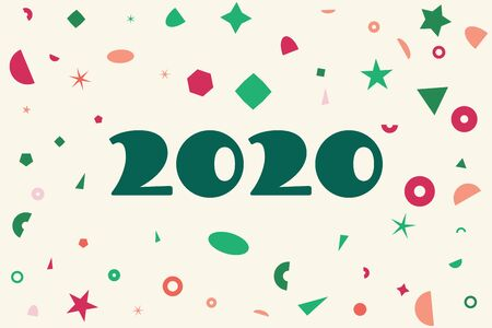 2020 year card, chaotic geometric shapes, trendy colors.