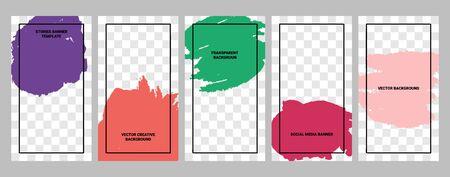 Bannières de médias sociaux. Ensemble de bannières pour les histoires de médias sociaux avec des textures grunge et des arrière-plans transparents. Modèles d'histoires pour la couverture, le dépliant, la brochure.