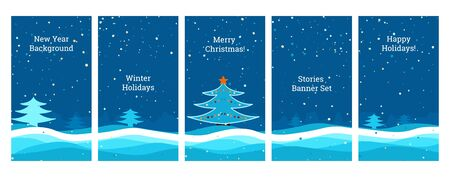Social media banners. Set of banners for social media stories with New Year, Christmas, winter view, falling snowflakes, snow, Christmas tree, New Year scene,templates for cover, flyer, brochure.