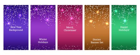 Social media banners. Set of banners for social media stories with bokeh light. Festive advertisement, party, celebration backgrounds. story templates for cover, flyer, brochure.