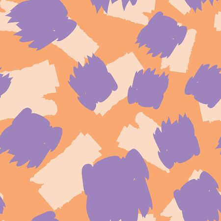 Seamless pattern with hand drawn brush strokes and dots. Creative beautiful header background. Bright colorful artworks. Collage with textured doodle shapes.