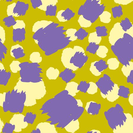 Seamless pattern with hand drawn brush strokes and dots. Creative beautiful header background. Bright colorful artworks. Collage with textured doodle shapes. 스톡 콘텐츠 - 132262905