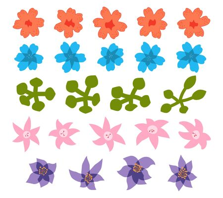 Set of had drawn doodle flowers isolated on white.  イラスト・ベクター素材