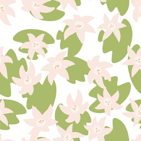 Seamless pattern with hand drawn doodle flowers and leaves. Floral vector background.