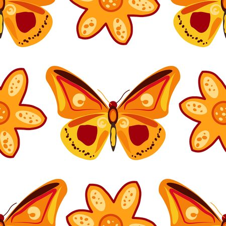 Seamless pattern with hand drawn doodle flowers and butterflies. Floral vector background.