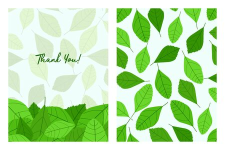 Thank You with leaves pattern. Flat style hand drawn illustrations with copy space for text. Simple cartoon design.